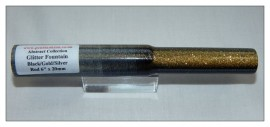"Glitter Fountain - Black/Gold/Silver Rod - 6"" x 20mm Abstract Series"