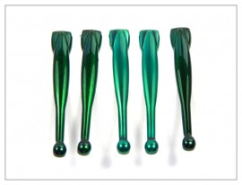 Fancy Slimline Pen Clips x 5 - Shiny Green