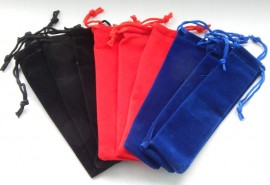 Velvet Drawstring Pen Pouches x 9 - 3 Different Colours