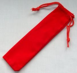 Velvet Drawstring Pen Pouches x 10 - Red